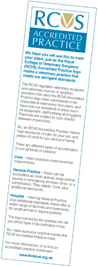 Practice Standards Scheme bookmark - reverse